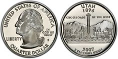 Celebrating the state, this 2007 Utah Quarter features the golden spike that joins Central Pacific and Union Pacific railroads on the reverse. Golden Spike, State Quarters, Union Pacific Railroad, Proof Coins, Utah, Personalized Items, Silver, Jute, Money