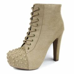 PR-S Metal Studded Spikes High Heel Suede Lace Up Platform Pump Ankle Bootie
