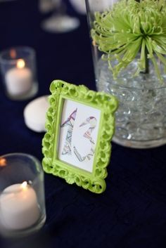 Lime Green Table Numbers 275x412 Classic Bayside Maryland Wedding Reception: Marie + Scott