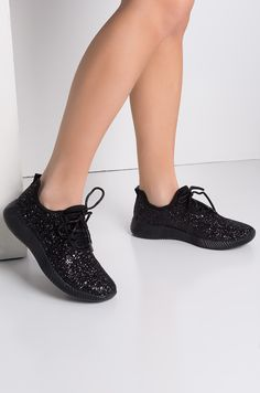 49107bf961e Front View Break All The Rules Glitter Sneakers in Black Shout Out