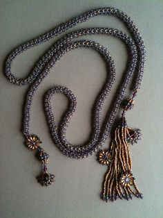 Lavender Amber Lariat Tassel Necklace.  Seed bead woven by Jeka Lambert.  Glass beads, seed beads.