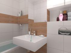 Mała łazienka w czterech odsłonach.  Patrz półka nad przy prysznicu.