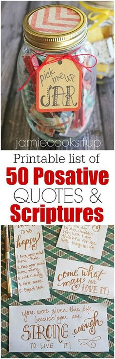 Pick Me Up Jars + Printable List of 50 Positive Quotes and Scriptures Mason Jar Diy, Mason Jar Gifts, Valentines Ideas For Bestfriends, Valentines For Best Friend, Cute Quotes For Teens, Cute Crafts For Teens, Positive Quotes For Teens, Diy Projects For Teens, Teen Girl Crafts