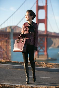 """Shades of Burgundy :: Ruffle jacket   wendyslookbook  Burgandy coloring with bow detail= very in trend for fall. Matching toughness with sweetness, a leather jacket covering a blouse with a bow """"tie"""" is a clever combo to this year's fall outfit."""