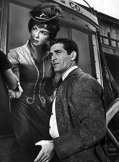 Hugh O'Brian as Wyatt Earp and guest star Adele Mara from the television program The Life and Legend of Wyatt Earp.