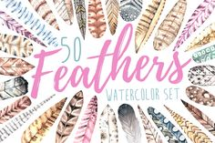 I love this weeks freebie from Creative Market - watercolor feathers!