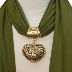 Scarf Pendant  Antique Gold Filgree Heart Scarf Jewelry