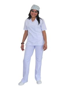 NU-04 NURSE UNIFORM • Top & Pant • Alpaca fabric, %65/35 poly/viscose • Polo collar with one press stud • One chest and two patch pockets • Short or long sleeve options • Closed front • Wrinkle resistant • No yellowing • Color: White • Optional pastel colors • Sizes(US): XS – S -M - L - XL -2XL -3XL • Sizes(EU): 36 -38 -40 -42 -44 -46 -48