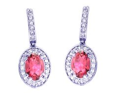 14K White Gold Small Oval Pink Tourmaline Gemstone and Diamond Drop Earrings
