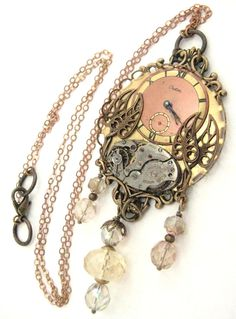 Peach steampunk vintage necklace, steampunk, steampunk shadowbox creation, steampunk jewelry, steampunk peach, steampunk with Czech glass