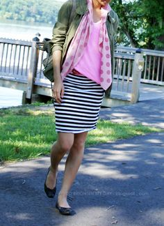 Colors with black and white striped skirt