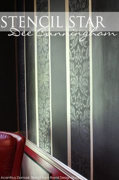 Acanthus Damask Stencil within a lustrous stripe application by artist Dee Cunningham.