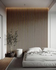 Home Interior Inspiration .Home Interior Inspiration Wood Slat Wall, Wood Slats, Wood Slat Ceiling, Wooden Wall Panels, Wood Panel Walls, Wood Wall Decor, Contemporary Bedroom, Modern Bedroom, Bedroom Black