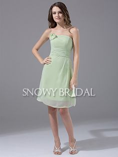 Sage Knee Length Chiffon Strapless A-Line Simple Bridesmaid Dress - US$ 74.99 - Style B1242 - Snowy Bridal