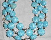 Vintage 3 strand light blue and white glass bead necklace with 49 beads for sale at: https://www.etsy.com/listing/197691483/vintage-3-strand-light-blue-and-white?ref=shop_home_active_4