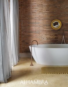 Contemporary Bathrooms, Curtain Fabric, Clawfoot Bathtub, Brick Wall, Fabric Design, Blinds, Design Inspiration, Interior Design, Luxury