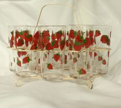 Vintage strawberry glasses with caddy. $25.00, via Etsy.