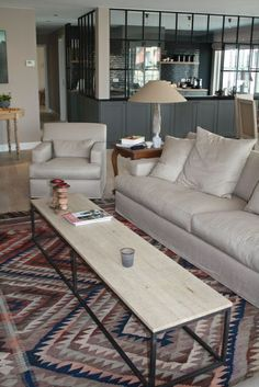 PAUL COFFEE TABLE - OAK TOP AND FULL IRON FRAME ...