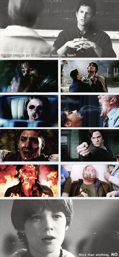 "(gif set) ""More than anything, no."" [This is one of my favorite gif sets. So sad. All Sam wanted was to be normal...] and it was Dean who tried to give him a chance at it, because he'd already seen what he was going to be, and he didn't want the same to happen to Sammy. He just wanted Sammy to be able to be normal, and happy, and able to accept that he was loved, that he was worth saving, and living and dying for."