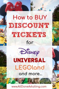 Learn how and where to buy discount tickets for Disney, Universal, LEGOland, SeaWorld and other popular attractions! Sign up for All Done Adukting's weekly email updates for the latest news and money saving offers. #disneydiscounts #universaldiscounttickets