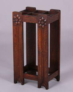 Grand Rapids carved oak umbrella stand.  Unsigned.  Excellent original finish.  28″h x 14″w x 10.5″d