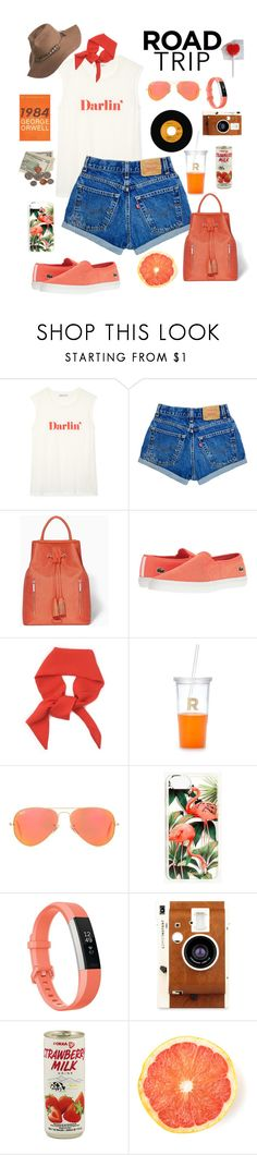 """""""Road tripping"""" by xmoonagedaydreamx ❤ liked on Polyvore featuring Modalu, Lacoste, Kate Spade, Ray-Ban, Madewell, Fitbit, LØMO and Overland Sheepskin Co."""