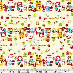 Santa and his friends are lined up and ready for the holidays! Even the little bunnies are dressed up and ready to go!This quilting weight Japanese fabric is 100% cotton and is 43/44