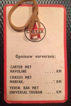 Caltex Havoline olie ververskaartje voor in de auto. (achterkant)