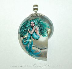 """""""Green Beauty"""" hand painted mermaid art nautilus pendant by Anne-Marie Broughton"""