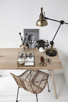 pale wood + metallics for the office