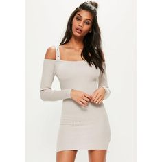 Missguided Grey Knitted Supported Bardot Ribbed Jumper Dress ($51) ❤ liked on Polyvore featuring dresses, stone, ribbed dress, rib dress, gray sweater dress, grey dresses and grey ribbed dress