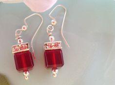Red Swarovski Earrings, Crystal earrings, bridal earrings, wedding jewelry, handcrafted jewelry , trendy