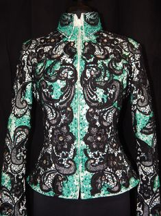 MISS KARLA'S CLOSET Teal Black and White Lace Jacket / Showmanship / Rail Class / Western  $2550  www.MissKarlasCloset.com Teal Outfits, Rodeo Outfits, Country Outfits, Western Outfits, Western Wear, Western Riding, Western Show Shirts, Western Show Clothes, Horse Show Clothes