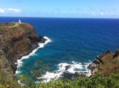 Kilauea Point, on the island of Kauai in Hawaii overlooking a lighthouse on the edge of the cliff