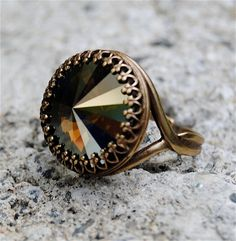 Hey, I found this really awesome Etsy listing at https://www.etsy.com/listing/106533499/copper-brown-mist-swarovski-crystal-ring
