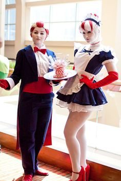 Peppermint Butler and Peppermint Maid from Adventure Time.  View more EPIC cosplay at http://pinterest.com/SuburbanFandom/cosplay/
