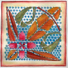 """Gayles Art Journal Journey: Stencil Crazy -- using the Balzer Designs """"Punchinella"""" stencil"""