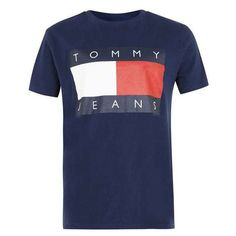 Tommy Jeans Navy Logo T-shirt - Men's T-Shirts & Vests - Clothing -... ($62) ❤ liked on Polyvore featuring men's fashion, men's clothing, men's shirts, men's t-shirts, tees, mens navy blue t shirt, mens logo t shirts, mens vest, mens vest t shirts and mens navy blue shirt