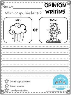 Free Writing Prompt Opinion Writing For First Grade This Is Also Great For Kindergarte Kindergarten Writing Prompts Kindergarten Writing Free Writing Prompts