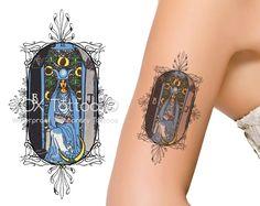 The High Priestess Tarot Card Waterproof Temporary Tattoos