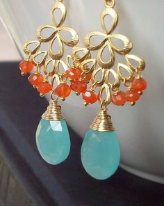 Aqua Blue Chalcedony, Carnelian Gold Earrings- Chandelier Earrings, $39