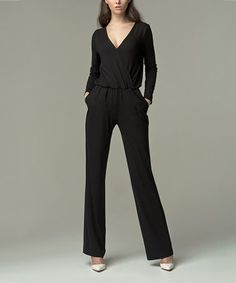 Another great find on #zulily! Black Wrap Jumpsuit #zulilyfinds