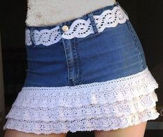 DIY Crafts with old jeans - DIY Layered Lace Skirt - Cool projects and fashion that . - DIY Crafts with Old Jeans – DIY Layered Lace Skirt – Cool projects and fashion that you can do - Sewing Clothes, Crochet Clothes, Diy Clothes, Clothes Refashion, Jeans Refashion, Diy Jeans, Denim Skirt, Lace Skirt, Jean Skirt