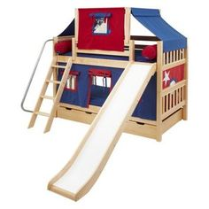 Laugh Boy Twin over Twin Slat Slide Deluxe Tent Bunk Bed