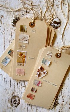 Paper and Fabric Scraps - Handmade Gift Tags Handmade Tags, Paper Tags, Recycled Crafts, Tag Art, Fabric Scraps, Fabric Tags, Creative Gifts, Junk Journal, Diy Gifts