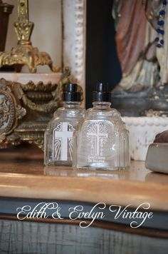 Antique French Holy Water Bottles from France by edithandevelyn on Etsy