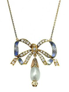 Beautifully dimensional vintage ribbon bow necklace, with enamel and set with diamonds. From Doyle & Doyle.
