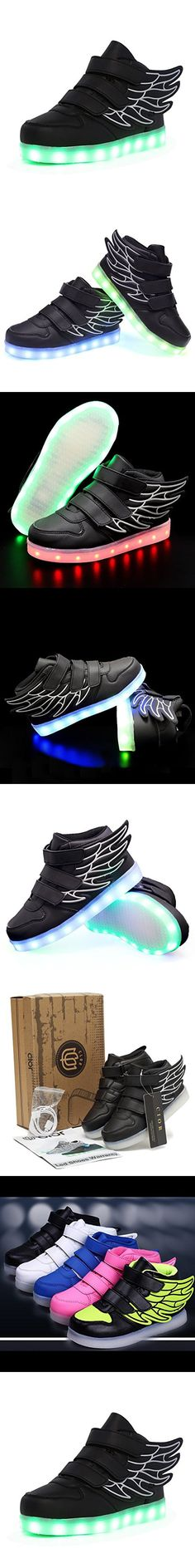 CIOR Kids Boy and Girl's 11 Color Wings Led Sneakers Light Up Flashing Shoes,102,01,27, 10 M US Toddler, 02Black