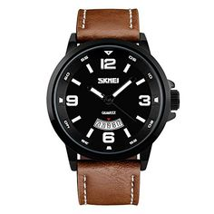 USWAT Fashion Mens Simple Casual Quartz Date Leather Band Watch Womens Luxury Classic Dress Waterproof Sports Watches Black *** To view further for this item, visit the image link.
