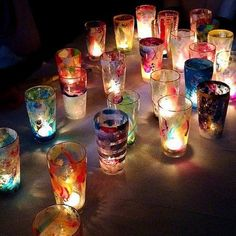 Shot Glass, Art For Kids, Diy And Crafts, Candle Holders, Rainbow, Candles, Display, Tableware, Instagram Posts